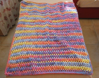 Multicolored double-sided crocheted baby blanket