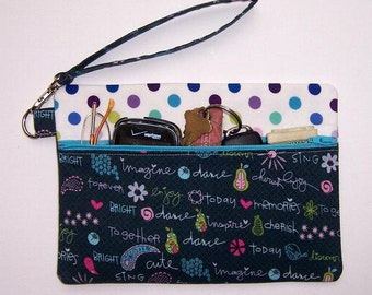 Teal Blue Wristlet, Polka Dots Clutch Wrist Wallet, Turquoise Makeup Bag, Small Zippered Purse, Phone or Camera Holder, Cosmetic Gadget Bag
