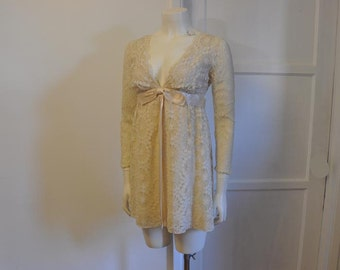 1960s dress / Vintage Dress / 60's Mod Lace Micro Mini