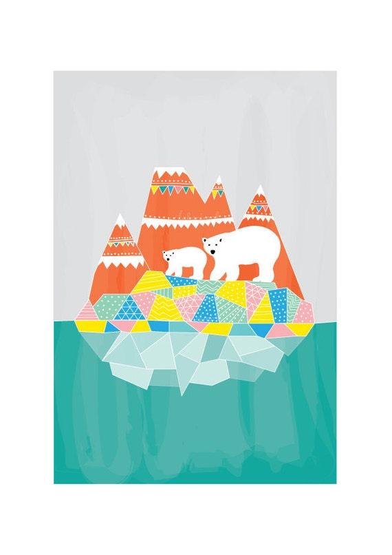 Polar Bears Print - Animal Illustration, Geomertric Patterns, Drawings Illustration, Children Room decor, Kids room art, Nursery room Art