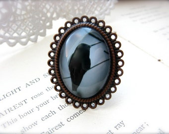 Hummingbird Black And Gray Large Oval Statement Ring Original Photography - Silhouetted Hummingbird