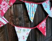 Flag Bunting Vintage Look Fabric Lecien Flower Sugar