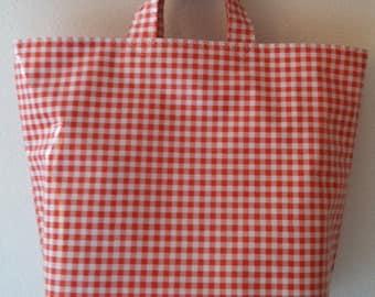 Beth's Orange Gingham Grocery Shopper Oilcloth Market Tote Bag