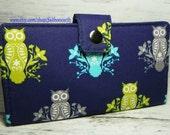 SALE - Owls on blue - Vegan Wallet - Handmade Long Wallet  BiFold Clutch