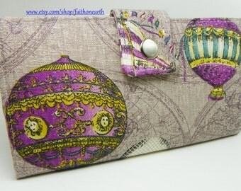Handmade vegan Long Wallet BiFold Clutch - Purple Hot Air Balloon Ride wallet