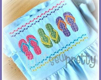 Flip Flops Summer Machine Smocked Embroidery Design