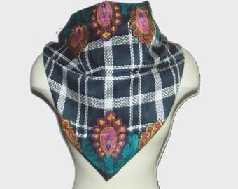 vintage 90s scarf / 1990s bandana / DVF / silk / Black and Bold Scarf by Diane von Furstenberg