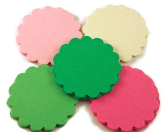 Die Cut Paper Circles Scalloped Circles in Botanical Set of 50