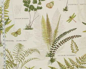 Fern fabric botanical print nature woodland interior home decorating material cotton BTY