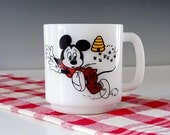 RESERVED FOR DW...Vintage Mickey Mouse Mug, Milk Glass Cup, Libbey Glass, U.S.A., Walt Disney Productions, Mickey Mouse Club