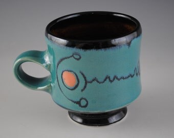 Blue,Green Porcelain Mug With Orange Spots And Unusual Black Linear Design