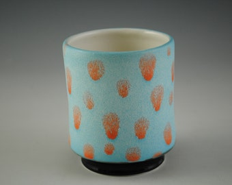 Cup, Blue With Orange Spots