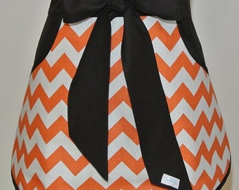 Orange and White Chevron Adult Half Apron with Pockets and Ties trimmed in Black