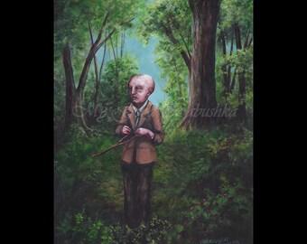 Dowsing, The Seeksorrow, Original Painting, Dark Forest, Fairy Tale, Folk Tale, Divination, The Seeker, The Search, Dark Art, Macabre Art