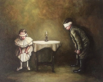 Blow Out the Candle, Original Painting, Children's Game, Turn of the Century, Victorian Era, Blindfold, Candle, Table, Tablecloth, Girl, Boy