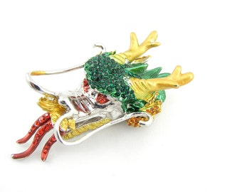 Large Chinese Dragon Head Slide Charm Rhinestones