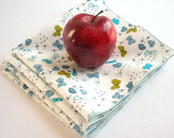 Organic Cotton Napkins, Eco Friendly Cloth Napkins, Reusable - Blue and Green Butterflies, Set of Four
