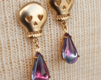 Gold Skull Earrings with Fuchsia and Amethyst Glass Stones