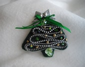 Christmas Tree Vintage Zipper Brooch Decorated One of a Kind Handmade by Marilyn handcraftusa