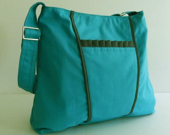 Sale - Bright Teal Canvas Bag, purse, tote, messenger bag, hobo, bow, cute, stylish  - Gail