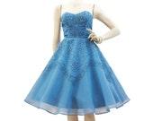 50s Dress Vintage Cupcake Blue Soutache Rhinestone Strapless Party Prom S