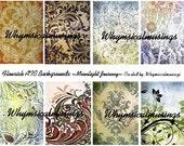 Flourish ATC Backgrounds Digital Collage Sheet Fluer ACEO Scrapbooking Pastel