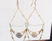 Bohemian Gold Chandelier Earrings