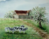 Watercolor Print Cows Barn Green Landscape Apple Peach Flowering Trees Fence by Arie Reinhardt Taylor