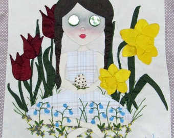 Bella In Spring Flowers - Art Doll Art Quilt Wall Hanging