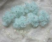 36 Chic AQUA Organza Ribbon Wired Rose Flower w rhinestone Christmas Holiday Bridal Wedding Favor Bow Hair Accessory Applique