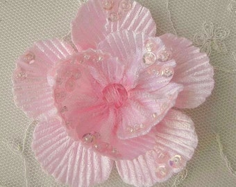 "2.75"" Handmade Velvet Beaded w Sequins Glass Beads Lt PINK Poppy Flower Bridal Corsage"