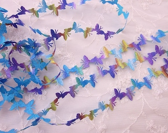 3yds Blue Purple Gold Ombre Butterfly Trim on a Vine Scrapbooking Card Making Bridal