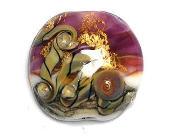 Cranberry Treasure Lentil Focal Bead - Handmade Glass Lampwork Bead 11818402