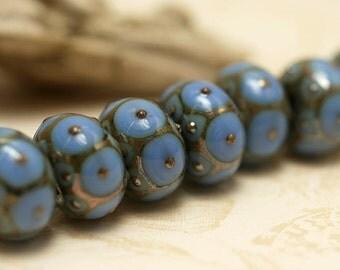 Handmade Glass Lampwork Bead Set - Seven Periwinkle w//Metal Dots Rondelle Beads 10410501