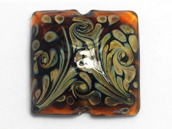 Glass Lampwork Bead - Brown w/Beige Dots Pillow Focal Bead 11808704