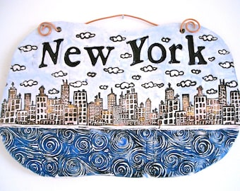 New York City Tile Wall Hanging - HandMade NYC Rustic Skyline & Sea, Harbor, Sky Clouds Plaque - Letterpress Stamped Word Eco Fine Art Sign