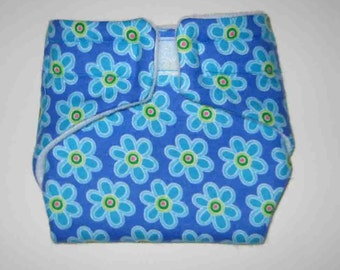 Baby Doll Cloth Diaper/Wipe-Blue on Blue-Fits Bitty Baby, Baby Alive,Cabbage Patch Dolls and More