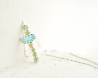 Petite Retro Bubble Pedant Necklace Sterling Silver Celery Green Robins Egg Blue, 1st Anniversary Gift Paper Jewelry, Simple Chic Jewelry...