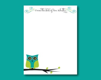 Owl Notepad, From the desk of, Teacher gift, stocking stuffer