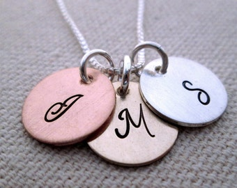 Personalized Necklace - Initially Yours - Monogram Necklace - Hand Stamped Jewelry