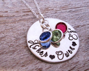 Mothers Necklace - Loving Mother - Hand Stamped Jewelry - Personalized Jewelry - Birthstone Necklace