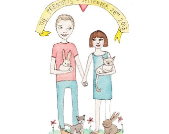 Custom Illustration - Gift, Anniversary, Birthday