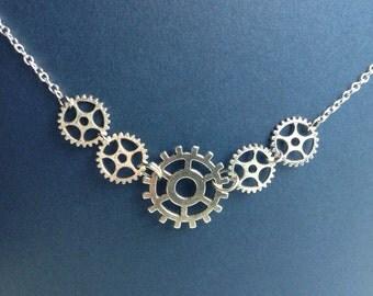 Steampunk Silver Gear Necklace