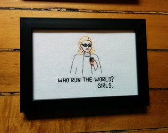 Hillary Clinton Needlepoint - Who Run The World? Girls.