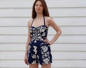 RESERVED Vintage Miss Hawaii Playsuit // 40's/50's Kamehameha Pin Up Swimsuit // S M RESERVED