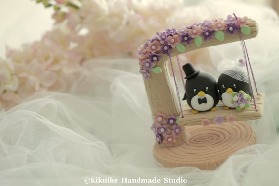 penguin with swing Wedding Cake Topper (K426)
