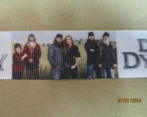Duck Dynasty White Background Camo Colored Figures 7/8 Inch Grosgrain Ribbon