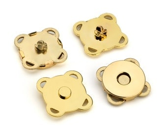 """30 Sets Sewn-on Magnetic Purse Snaps - Closures 10mm (3/8"""") - Gold - Free Shipping (MAGNET SNAP MAG-192)"""