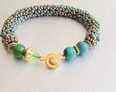 Jade green beaded bracelet green seed bead bead bracelet malachite beadwork spiral bracelet gemstone bracelet