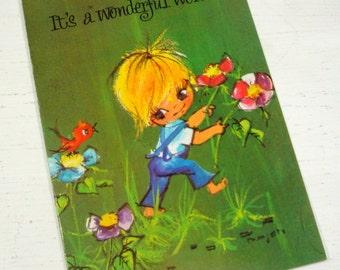 Vintage Get Well Card, Retro, Big Eyes, Wonderful World, Unused Greeting Card With Envelope, Green  (364-14)